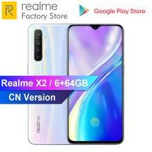 هاتف محمول من OPPO Realme X2 6.4 6GB RAM 64GB ROM سنابدراجون 730G 64MP رباعي الكاميرا NFC VOOC 30 واط سريع الشحن 4000mAh