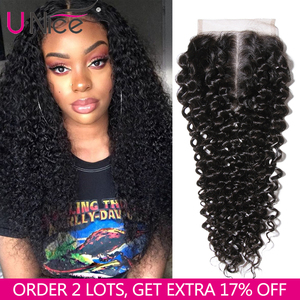 Image 1 - UNICE HAIR Brazilian Curly Lace Closure Free Part Remy Human Hair Closure Swiss Lace 150% Density Natural Color 1 Piece