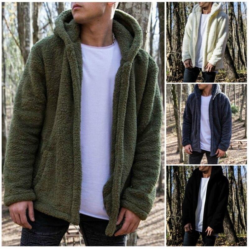 2020 New Winter Warm Men Winter Thick Hoodies Tops Fluffy Fleece Fur Jacket Hooded Coat Outerwear Long Sleeve Cardigans
