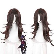 Uma musume bonito derby arroz chuveiro cosplay peruca resistente ao calor sintético 70cm de comprimento peruca marrom cabelo festa de halloween + tampão peruca livre