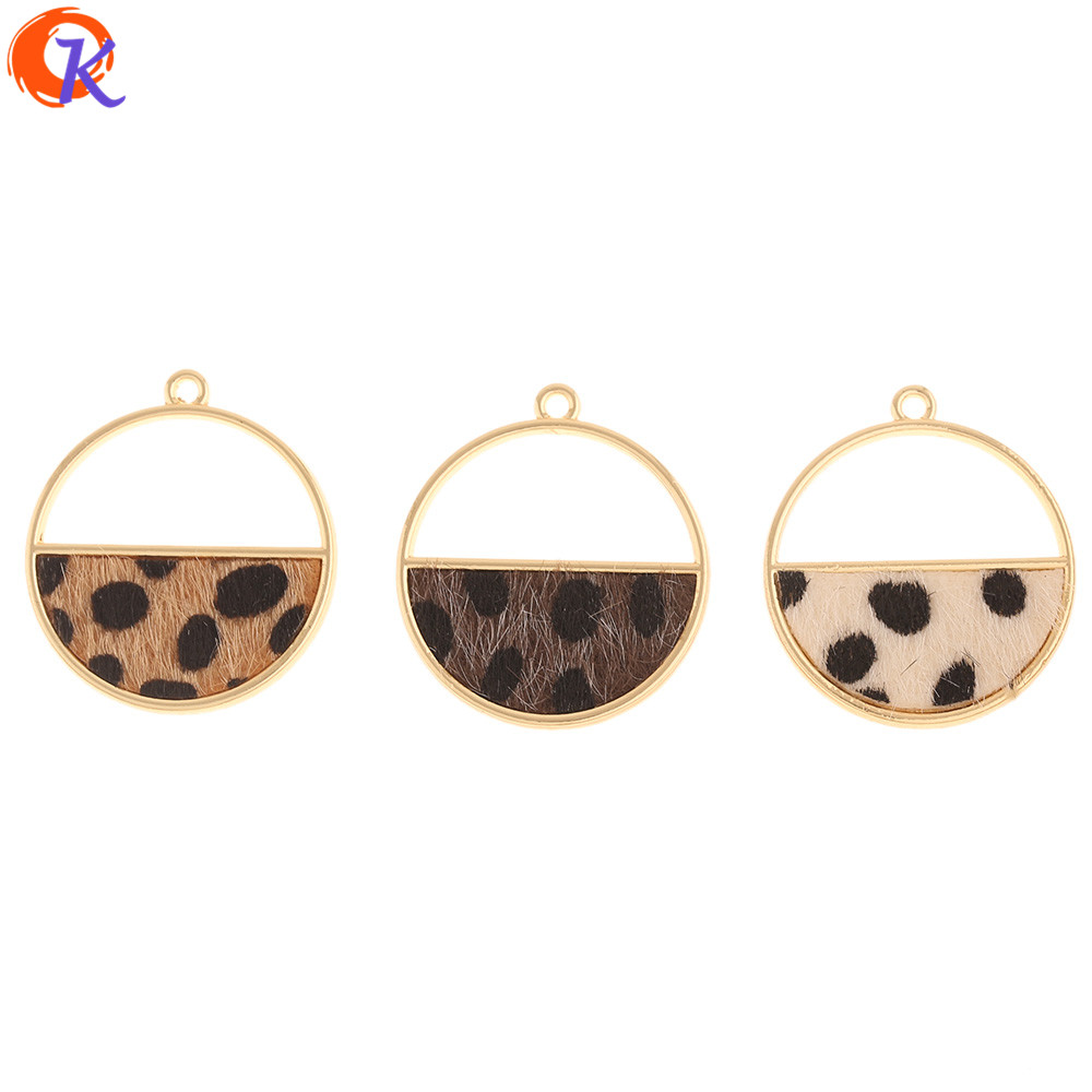 Cordial Design 50Pcs 28*32MM Jewelry Accessories/Charms/Round Shape/DIY Making/Leopard Print Effect/Hand Made/Earrings Findings