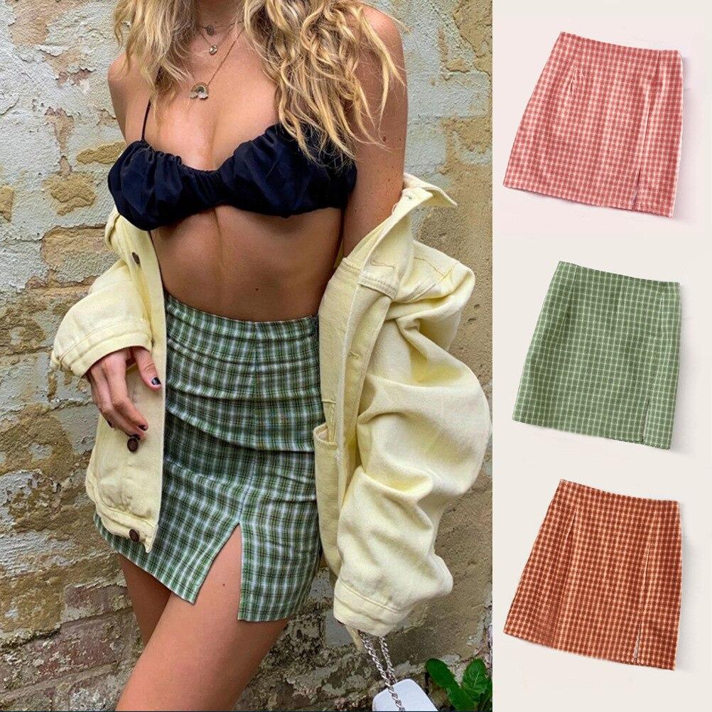 2020 Summer Mini Plaid Split Skirt Fashion All-match High Waist Zipper Figure Out Skirt Women A-line Casual Miniskirt
