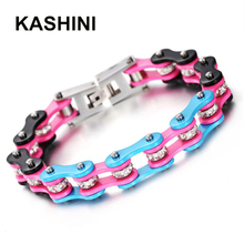 Blue pink black Bicycle Chain Stainless Steel 316L Motorcycle Jewelry Gift womens bracelets Female Crystal Punk KASHINI