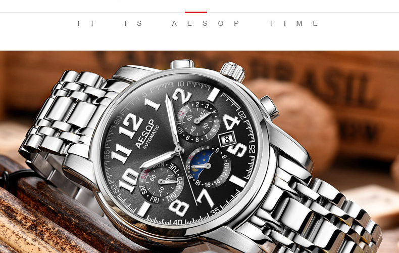 H2b81d30126d04883a1fd9c8a96e2c9a0c AESOP Luminous Automatic Mechanical Watch Men Luxury Brand Business Waterproof Stainless Steel Male Clock Relogio Masculino 2019