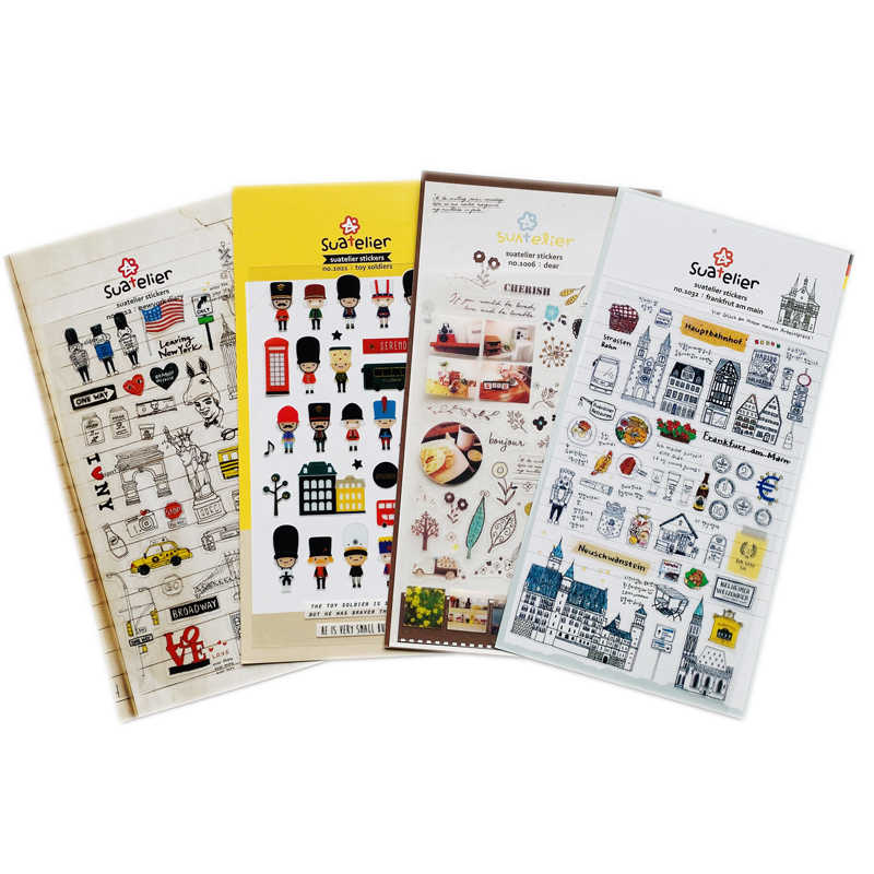 1 Sheet Leuke Speelgoed Soldaten New York Dagboek London Life Stickers Diy Stok Label Pvc Hand Account Decor Briefpapier