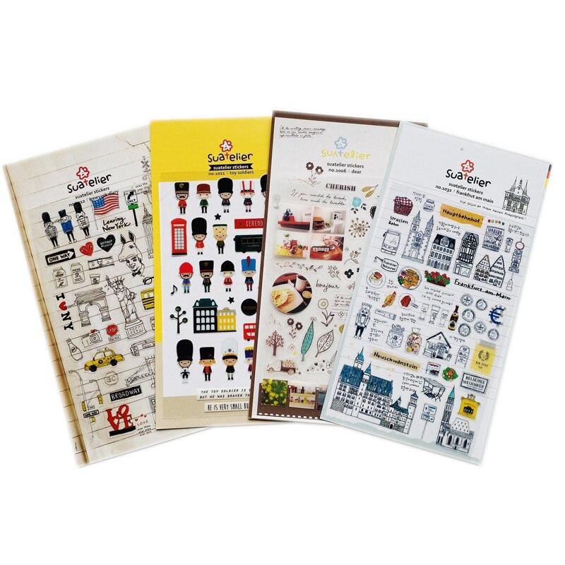 1 лист милых игрушечных солдат, дневник Нью-Йорка, ПВХ наклейки для творчества, канцелярские принадлежности
