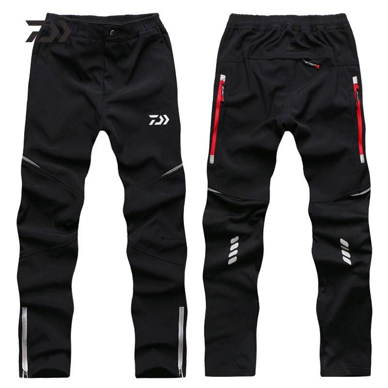 Daiwa Winter Outdoor Waterproof Trousers Men Plus Velvet Thickening Hiking Pants Warm Cycling Sports Trousers Black Anti-wrinkle