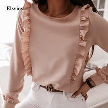 Spring Autumn O Neck Ruffle Blouse Shirts Elegant Office Lad
