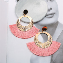 CRLEY Bohemian Big Tassel Drop Earrings For Women Lady Pink Red Fringe Handmade Round Gold Dangle Statement Woman Earring Jewelr