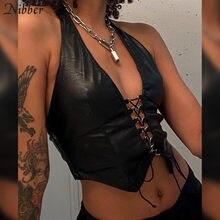 Nibber-Crop Tops con cuello Halter de cuero PU para mujer, Sexy Top corto en V profundo con escote, ropa de fiesta, Camiseta básica hueca