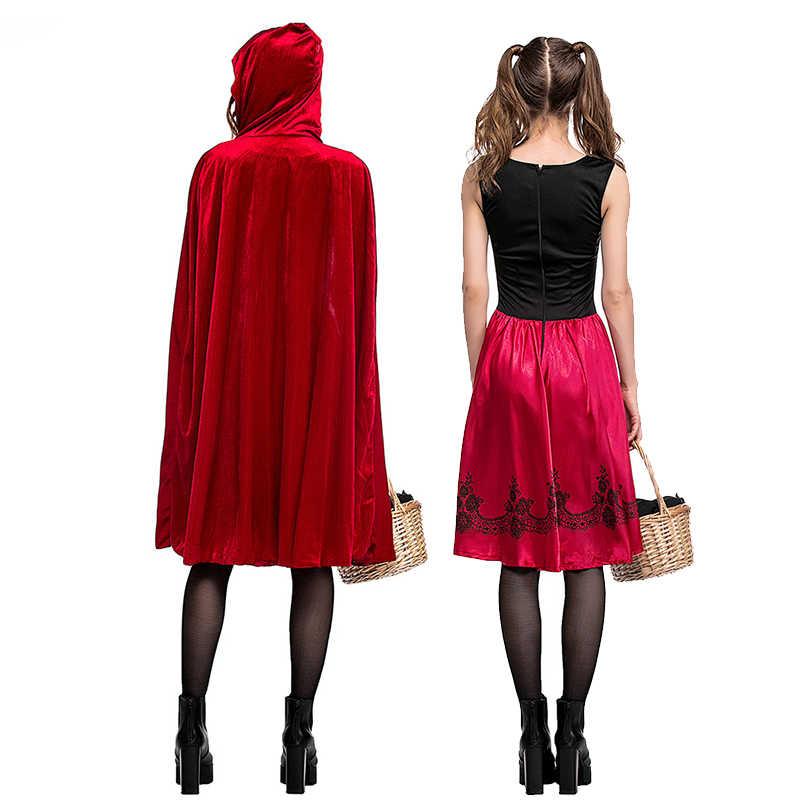 Little Red Riding Hood Cosplay costume for kids Adult Women  Large size Halloween Fantasia Party girls Stage performance suit