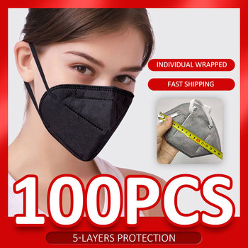 5-layers adult protective face shield 10/100 pcs protection face mask equal to ffp2 mask Respirator anti dust ffp2mask 1pc pack image
