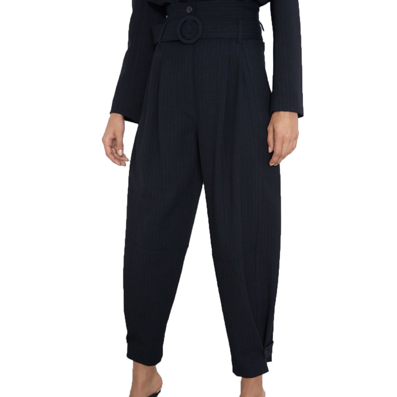 Fall 2019   pants   women casual high waist   pants   black womens clothing   wide     leg     pants   striped trousers women