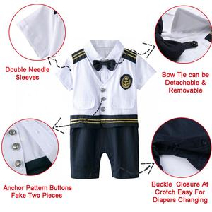 Image 3 - Baby Boys Captain Costume Romper With Hat Newborn Infant Halloween Cosplay Jumpsuit Outfit Toddler Skipper Sailor Playsuit
