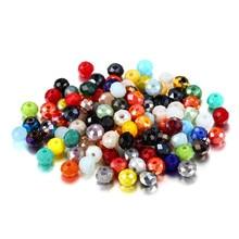 Perles d'espacement en cristal de verre à facettes colorées, pour bricolage, Bracelet, boucle d'oreille, fournitures de bijouterie, lot de 70 à 300 pièces, 3 4 6 8mm