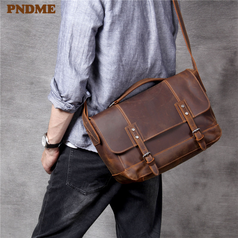 PNDME Business Casual Crazy Horse Cowhide Men's Women's Briefcase Fashion Vintage Genuine Leather Laptop A4 Messenger Bags