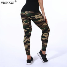 VISNXGI 2021 Camouflage Womens Fitness Leggings Knitted Stretch Army Green Ankle-Length Polyester High Waist Push Up Pants XXXL
