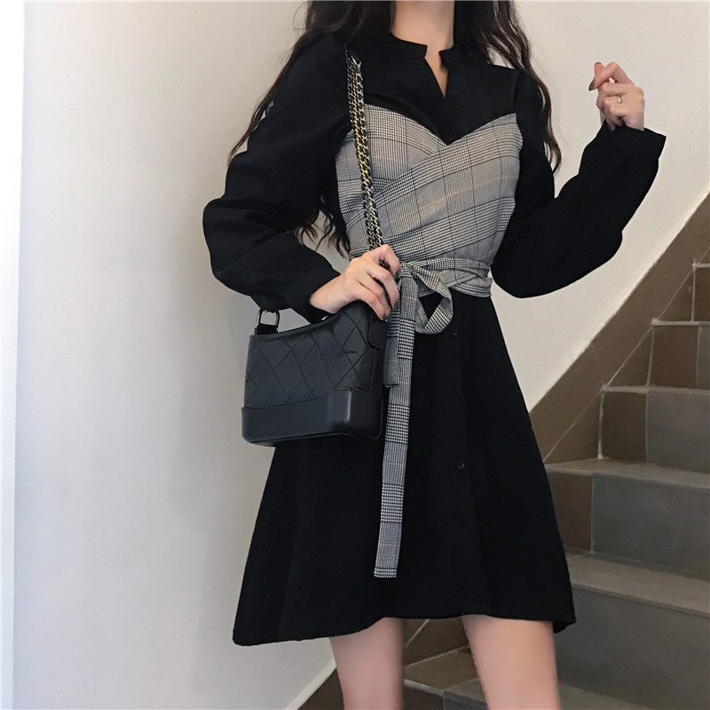 Women 2019 Fashion Fake Two Pieces Waisted Slim Dress Retro Long Shirt Dress Long Sleeve Patchwork A Line Mini Dress Vestidos