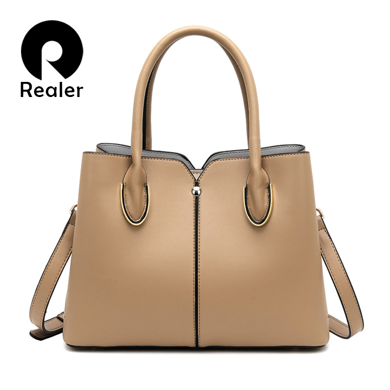 REALER Women Elegant Andbag Female Leather Tote Ladies Shoulder Crossbody Bag Large Capacity Messenger Bag With Top-handle 2019
