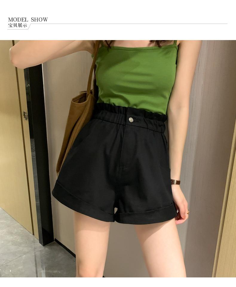 Women Hot High Waist Casual Wide Leg Female Shorts New Fashion 2020 Summer Plus Size Short  Red