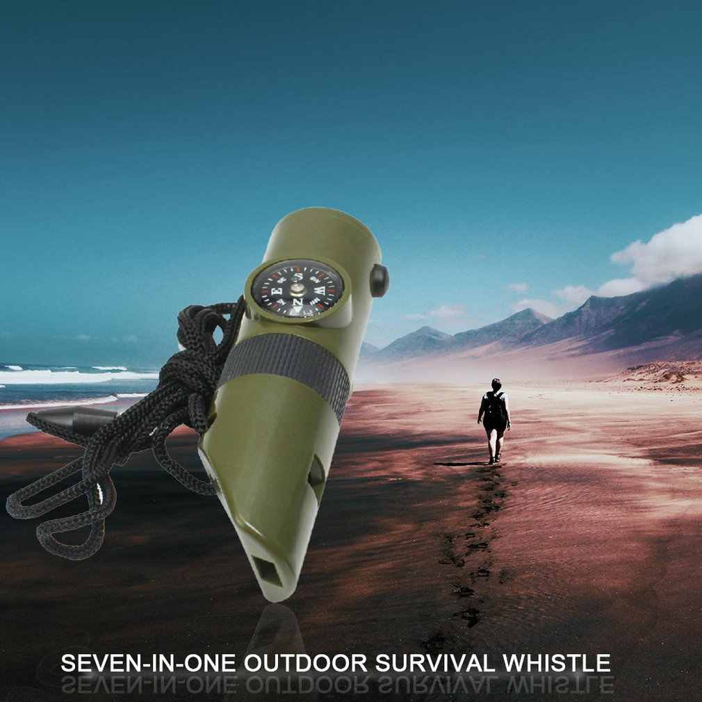 7 in 1 Military Emergency Survival Whistle Kit Compass LED Light Thermomet Tools for outdoor camping adventure Travel