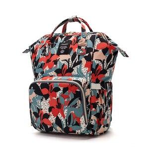 Image 2 - ดอกไม้พิมพ์กระเป๋าผ้าอ้อมกระเป๋าคลอดบุตรผ้าอ้อมกระเป๋าเดินทางท่องเที่ยวกลางแจ้งขนาดใหญ่ความจุ Baby Care กระเป๋าสำหรับรถเข็นเด็ก LEQUEEN
