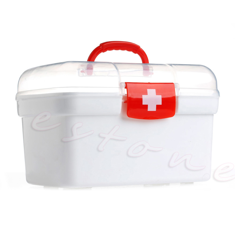 Double Layer Health Box Medicine Chest Handle First Aid Kit Storage Organizer M89F