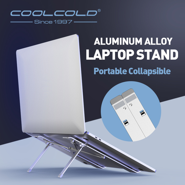 COOLCOLD Laptop Stand Height Adjustable Aluminum Laptop Riser Holder Portable Ergonomic Notebook to 17 inch for MacBook Air Pro