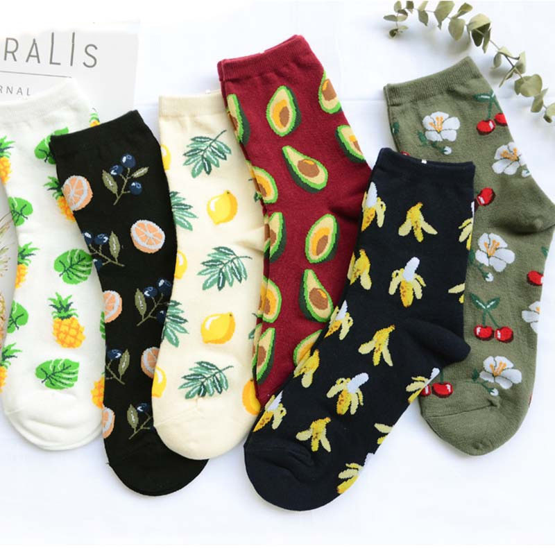 Harajuku Cute Banana/Avocado/Pineapple Novelty Socks Women Kawaii Animal Fruit Socks Plant Funny Calcetines Mujer