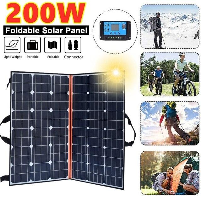 $ US $193.50 2020 New Foldable 200W 18V Solar Panel Monocrystalline Solar Cells 12V/24V Battery Chargeing For Camping/Boat/RV/Travel/Home