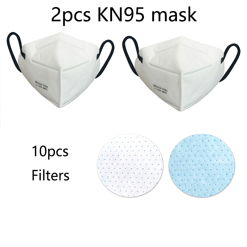 Kn95 N95 PM2.5 Masks Cycling Face Mask Adjustable Reusable Filters Breathable Protective for Dust Smoke Gas Allergy Dropshipping