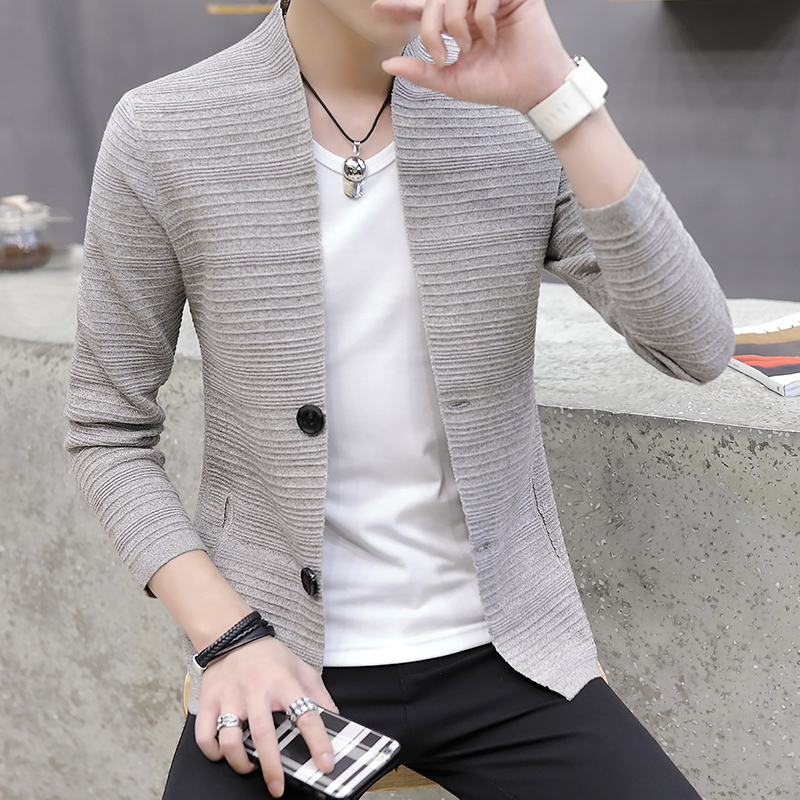 2019 Spring And Autumn Knitted Cardigan Men's V-neck Wear Lightweight Fashion Handsome Casual Sweater Men's Long Sleeves