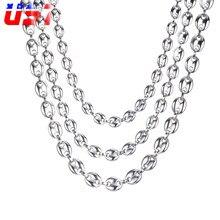 Us7 grãos de café link chain 7mm 9mm colares para homens aço inoxidável corda ligação corrente colares moda hip hop jóias
