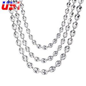 US7 кофе в зернах звено цепи 7 мм, 9 мм, ожерелья для мужчин нержавеющая сталь звено веревки форме плетённого кольца, стильное в стиле хип-хоп юв...