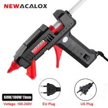 Newacalox 60w/100w quente melt pistola de cola com 11mm quente melt cola varas ferramenta temperatura do calor 110v/220v mini armas thermo gluegun