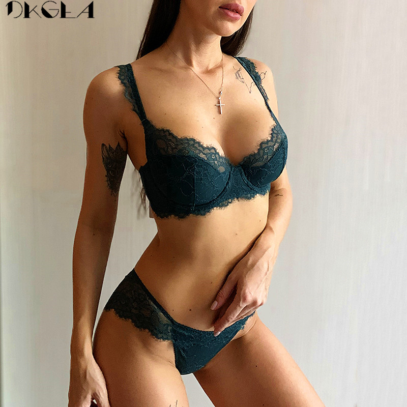 Comfortable Thin Cotton Brassiere Embroidery Bras Green Underwear Set Sexy D E Cup Plus Size Bra Set Women Lingerie Lace Black