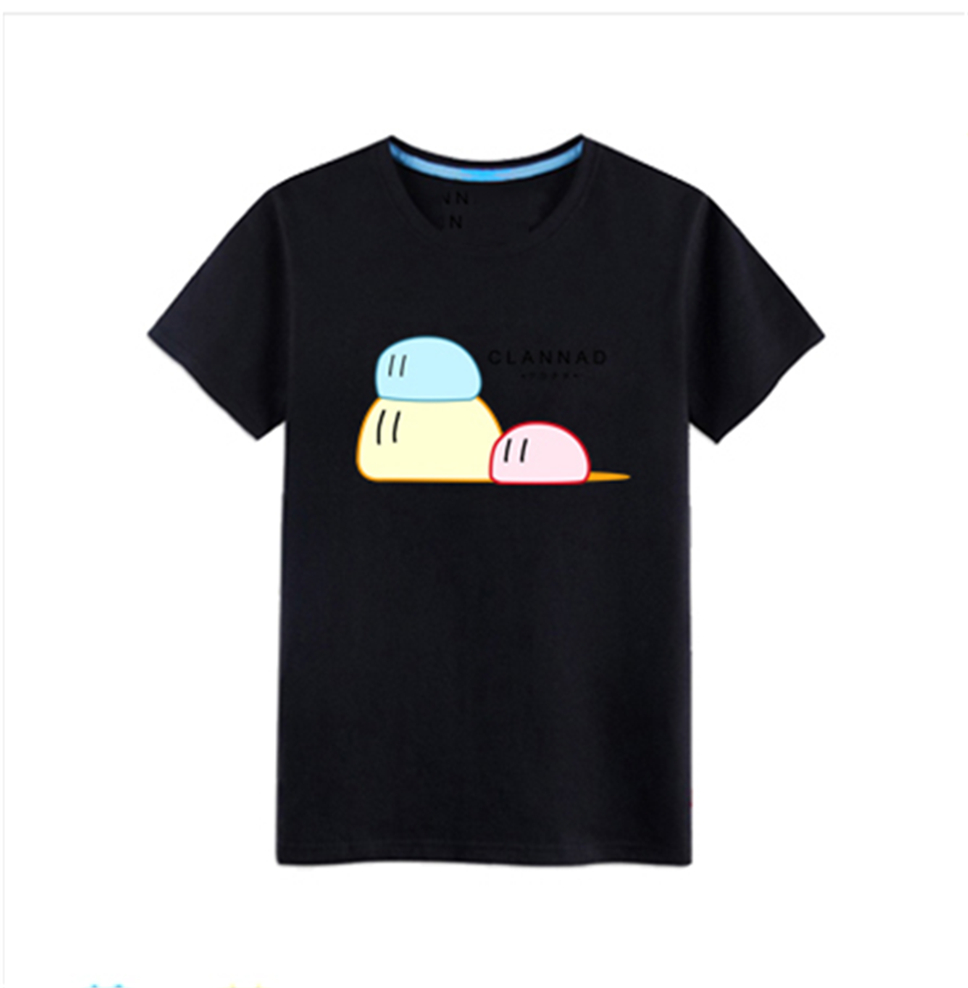 Unisex Women'S <font><b>Anime</b></font> <font><b>Clannad</b></font> Cute Cotton Short Sleeve T-Shirt Basic Tee Tops New Homme Plus Size Tee Shirt image