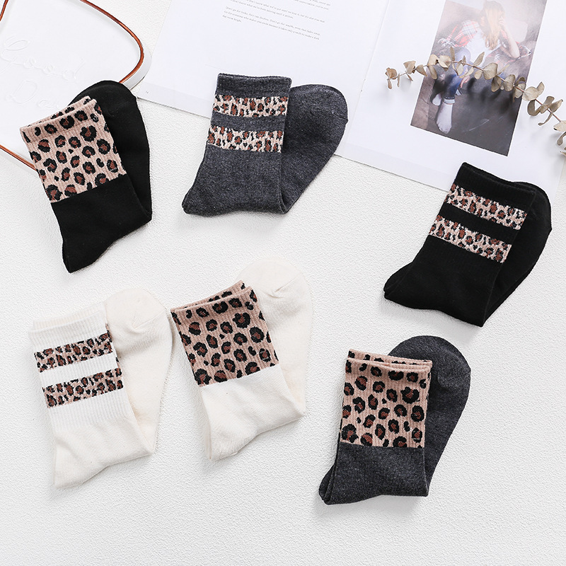 Retro Leopard Print Cotton Women Socks Stripe Fashion Harajuku Street Cool Cozy Vintage Korean Animal Girl Gift Funny White INS