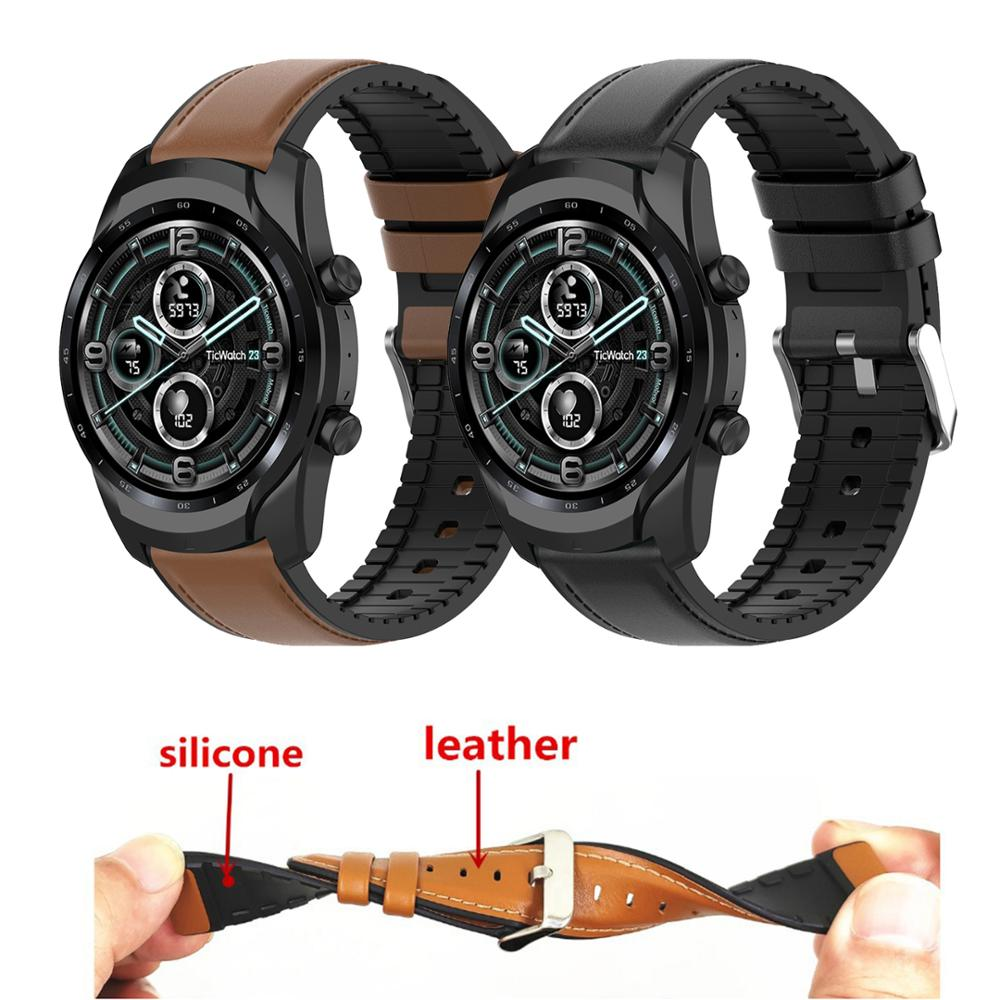 Genuine Leather Strap For Ticwatch Pro 3 GPS 4G/LTE Silicone Band For Ticwatch Pro 2020 GTX E2 S2 S Mens Replacement Bracelet