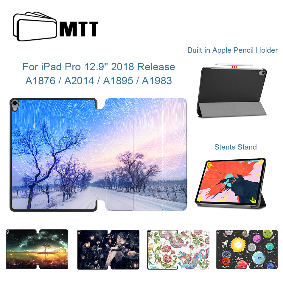 MTT Cover Case For IPad Pro 12.9 Inch 2018 Release PU Leather Flip Fold Protection Funda Coque Model A1876 A2014 A1895 A1983