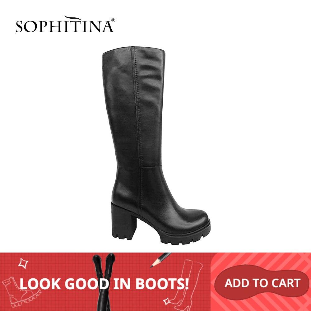 SOPHITINA hiver femme bottes longues de haute qualité en cuir véritable bout rond chaussure plate-forme épaisse solide garder au chaud genou-haute botte B99
