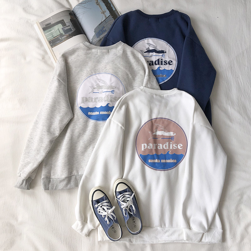 Mooirue Spring Women Sweathshirt Fish Printed Gray White Blue Boyfriend Pullovers Tops