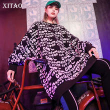 XITAO Plus Size Letter Sweatshirt Women Fashion 2019 Autumn Elegant Black Goddess Fan Minority Print Style Sweatshirt WLD2670(China)