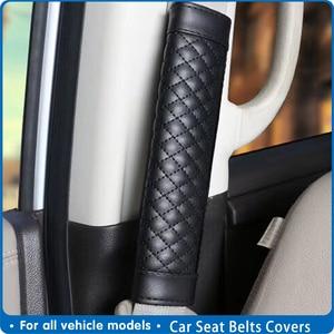 Универсальные автомобильные Чехлы для ремней безопасности, 2 шт., мужские кожаные черные автомобильные чехлы на ремень безопасности, автомо...