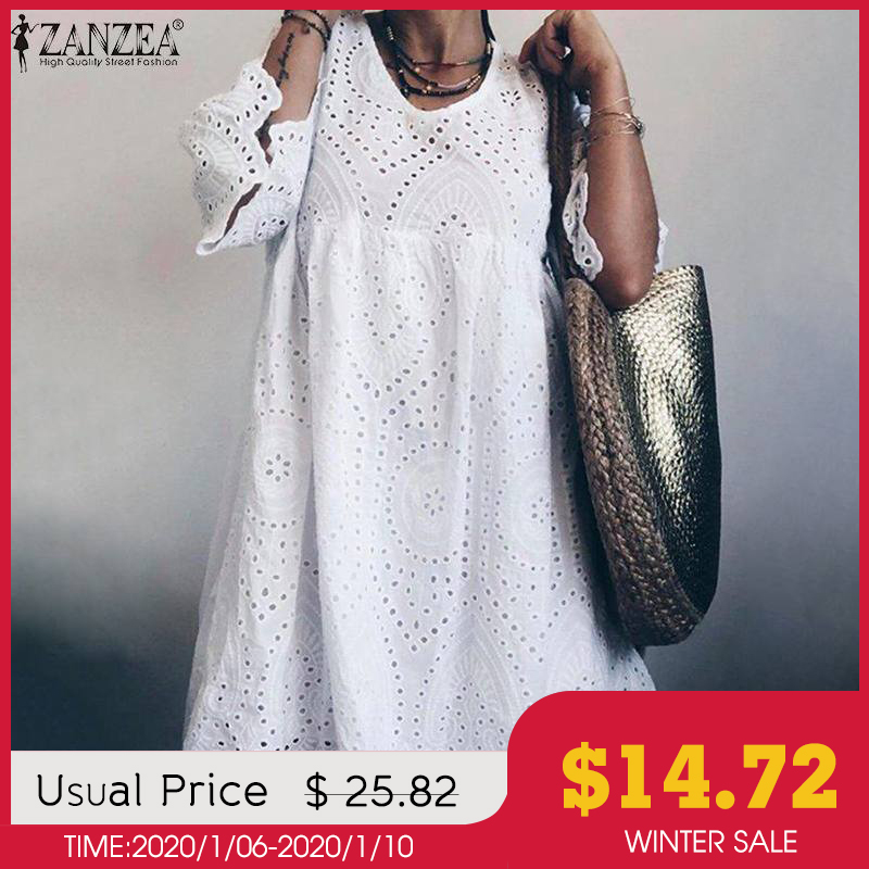 Elegant Lace Dress Women's Summer Sundress ZANZEA 2019 Flare Sleeve Knee Length Vestidos Female Bohemain Hollow Cotton Robe 5XL