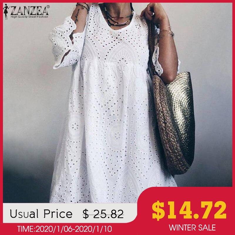 Elegant Lace Dress Women's Summer Sundress ZANZEA 2019 Flare Sleeve Knee Length Vestidos Female Bohemain Hollow Cotton Robe 5XL