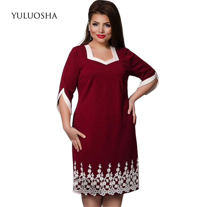 YULUOSHA New Plus Size Mother Of The Bride Dresses Lace A-Line Dresses Mother Groom Elegant Women Dress Vestidos Madre Novia
