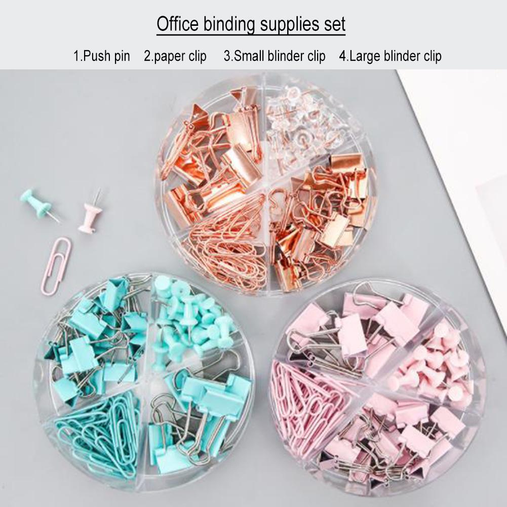 72Pcs Binder Clips Paper Clips Push Pins Sets Office Set With Acrylic Box For Office School Supplies