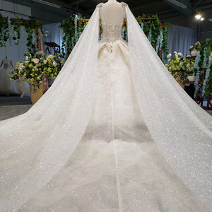 Image 4 - HTL973 ball gown wedding dresses detachable sleeve shawl o neck bow belt bead wedding gowns with tail glitter robe mariage femme
