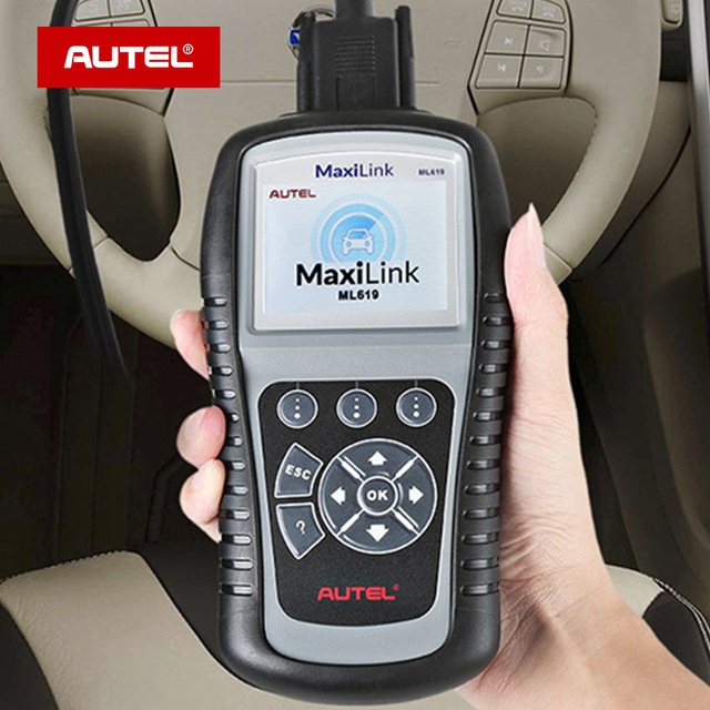 Autel maxilink ml619 abs/srs + pode obdii ferramenta de diagnóstico limpa códigos e redefine monitores